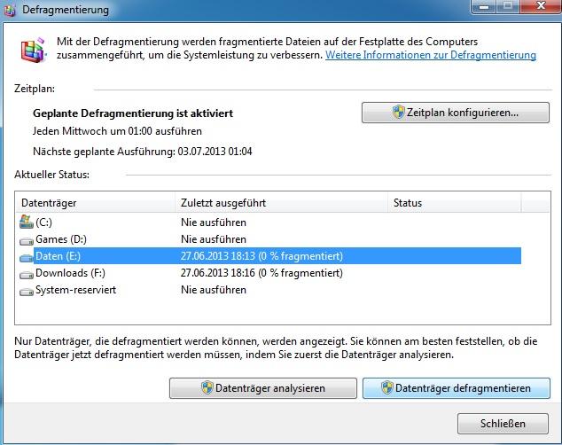 Computer beschleunigen - Defragmentierung starten