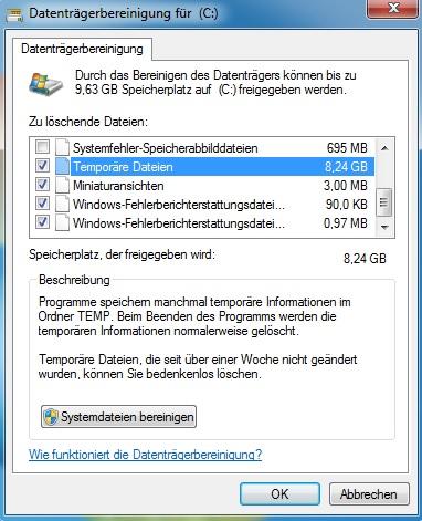 Computer beschleunigen - Datenträgerbereinigung