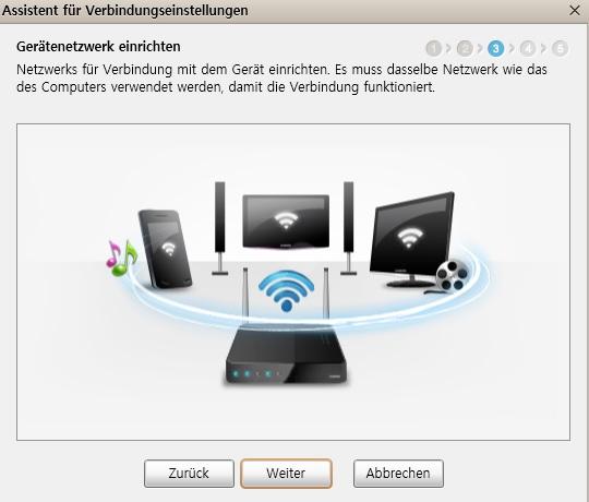 Allshare - Geräte müssen im selben Netzwerk sein