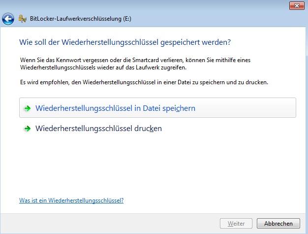 BitLocker - Wiederhestellungsschlüssel