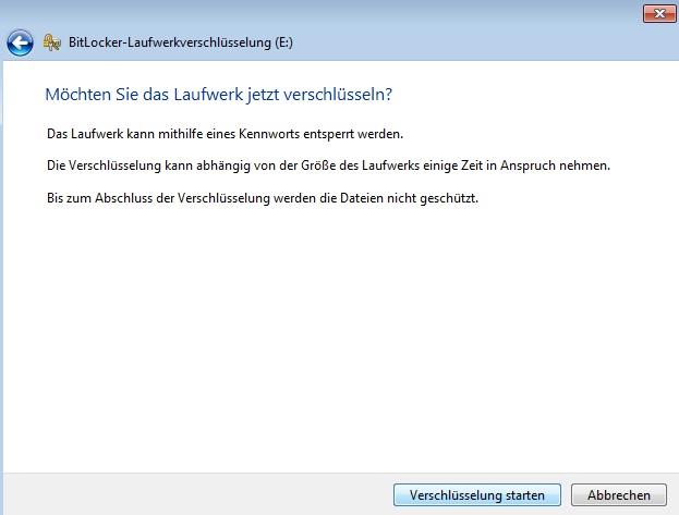 BitLocker - Verschlüsselung starten