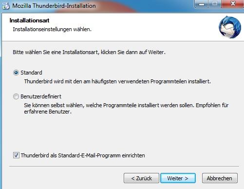 Mozilla Thunderbird: Installation