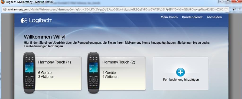 Harmony Touch - Fernbedienung hinzufügen