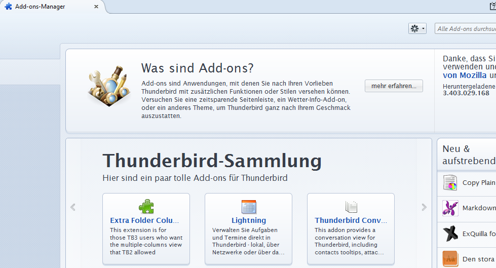 Mozilla Thunderbird: Add-on Manager
