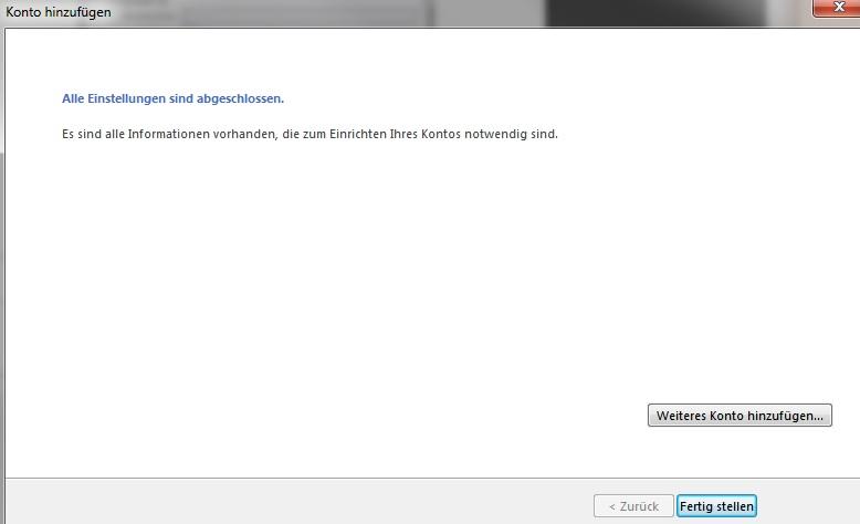 Outlook 2013 - Einrichtung abgeschlossen
