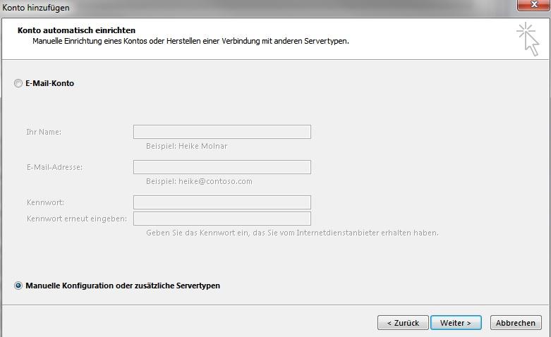 Outlook 2013 - Manuelle Konfiguration