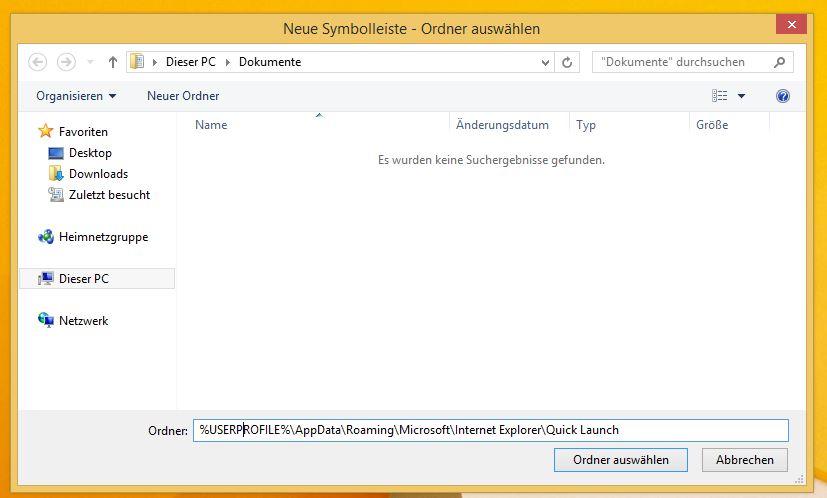 Windows 8.1 Schnellstartleiste aktivieren | Ordner eingeben