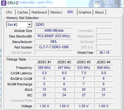 Arbeitsspeicher identifizieren   mit CPU-Z