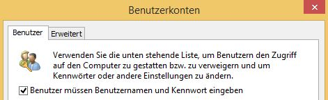 Windows 8.1 automatisch anmelden | Haken entfernen