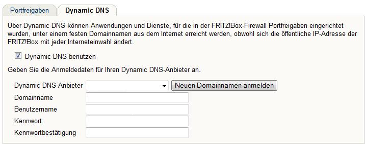 dynamic DNS Provider eintragen