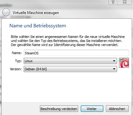 SteamOS | VirtualBox Maschine erzeugen