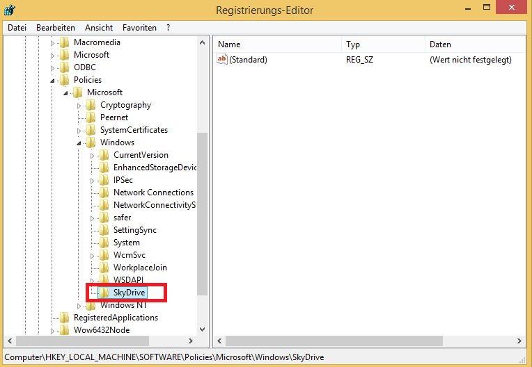 SkyDrive deaktivieren | Schlüssel erstellen