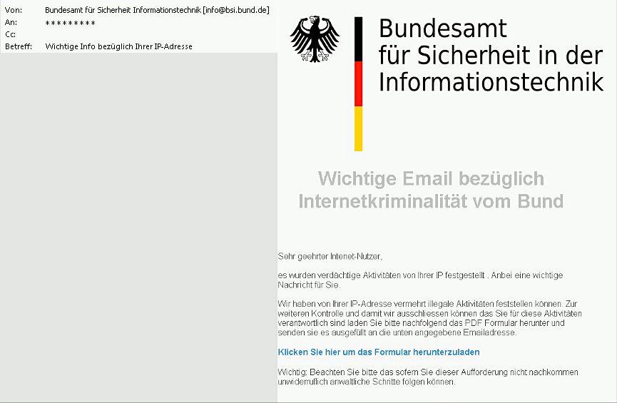 Beispiel einer Phishing E-Mail | Quelle: BSI