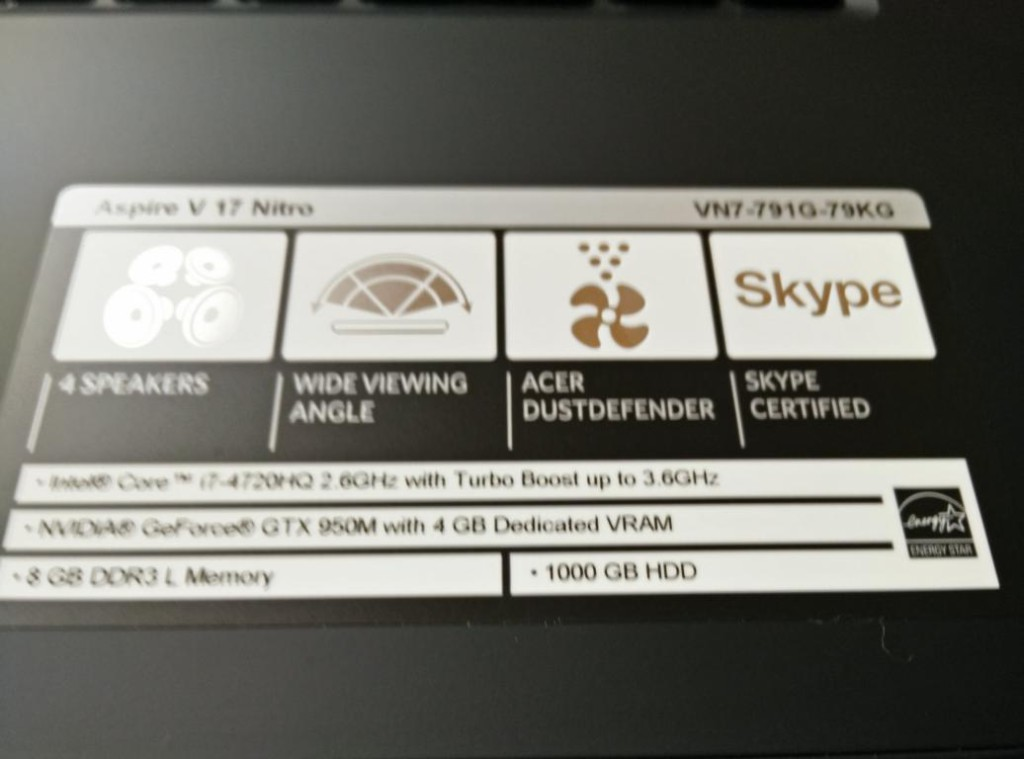 Acer Aspire N7-791G-79KG |Spezifikationen