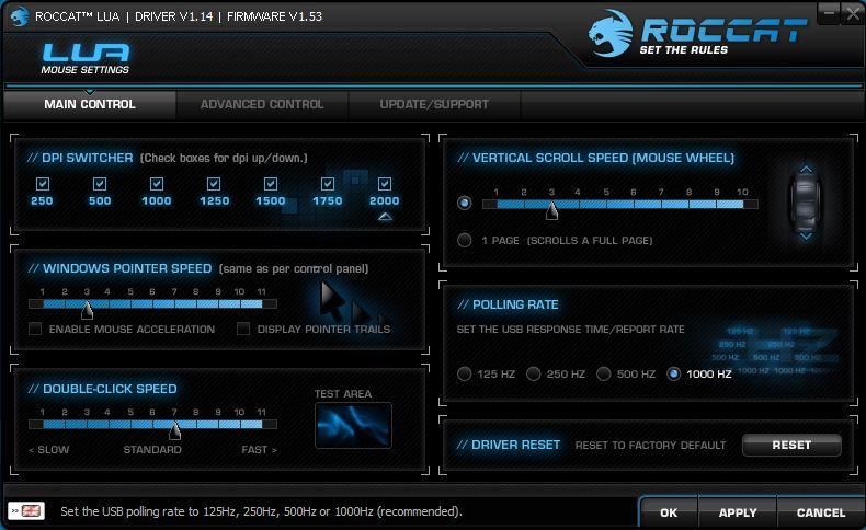 Roccat Lua | Software für Einstellungen