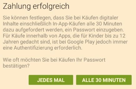 Google Play Store | Zahlung erfolgreich