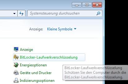 BitLocker - Systemsteuerung
