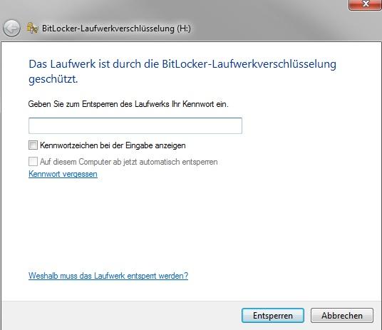 BitLocker - Passwortabfrage