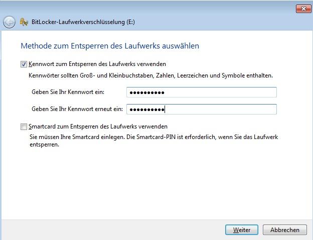 BitLocker - Passwortfestlegung