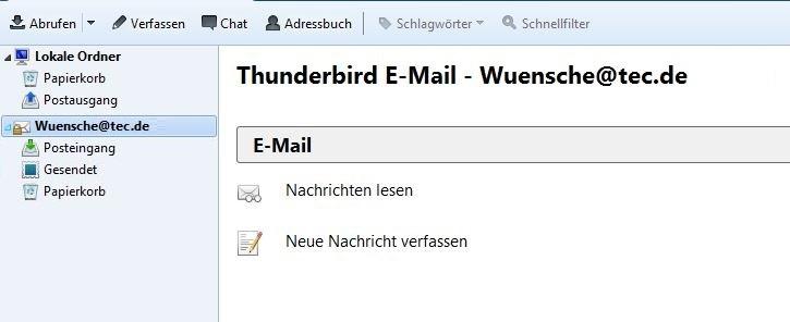 Mozilla Thunderbird: eingerichtetes E-Mailkonto