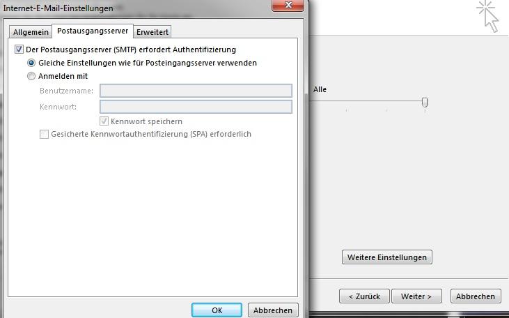 Outlook 2013 - Erweiterte Einstellungen