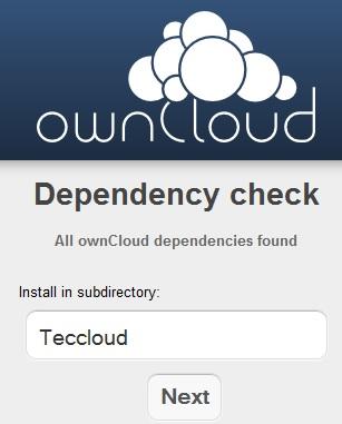 ownCloud - Verzeichnis wählen