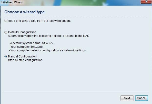 ZyXEL NSA325 | Konfiguration wählen