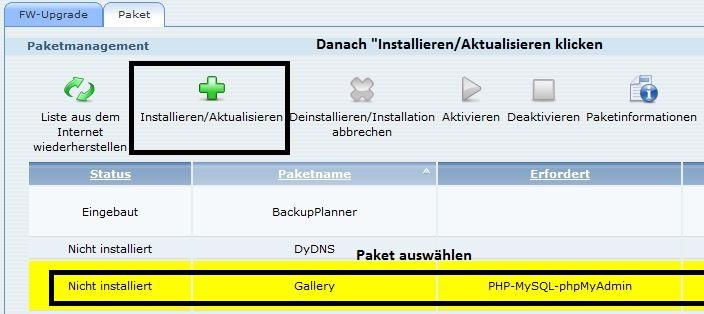 ZyXEL NAS325 | Paket installieren