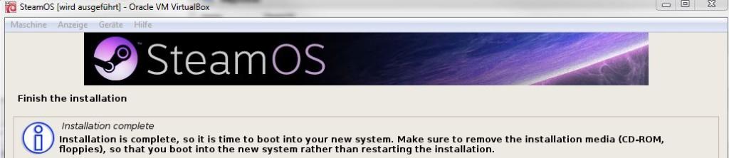 SteamOS | Installation beendet