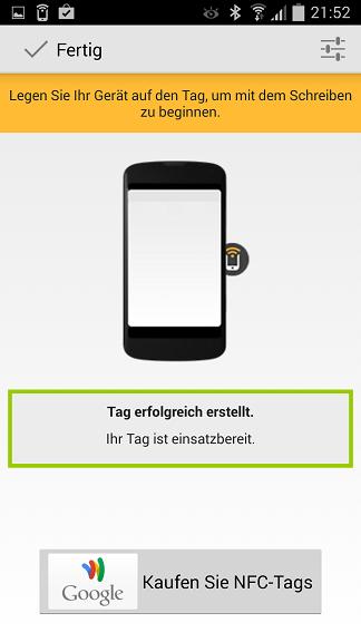 NFC-Tags - App Trigger Tag einsatzbereit