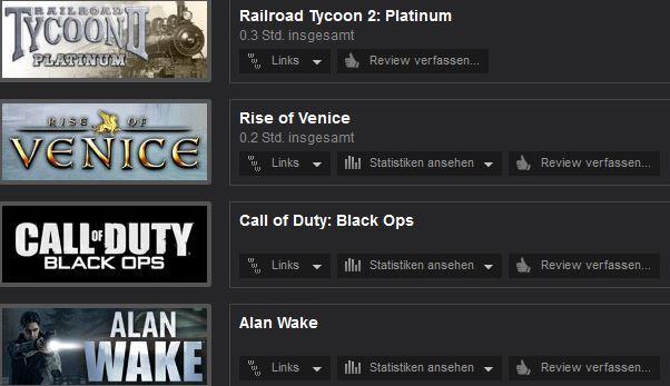 Steam Statistik | wenig bis gar nicht gespielt
