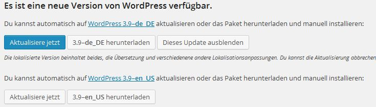 Wordpress 3.9 | Update steht bereit