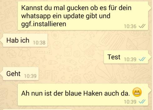 WhatsApp | Lesebestätigung dank blauer Haken