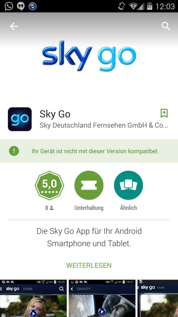 Sky Go Android App | mit beschränkter Unterstützung